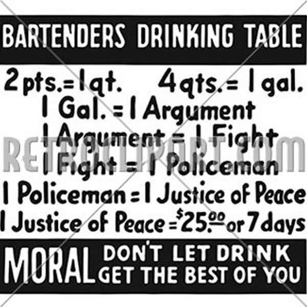 Bartenders Drinking Table