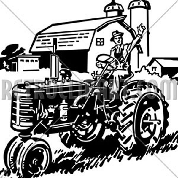 Farmer On Tractor Waving
