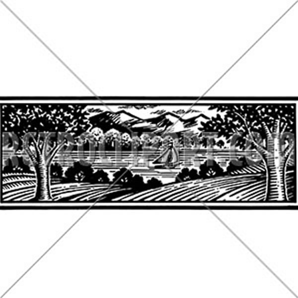 Lakeside Woodcut Banner