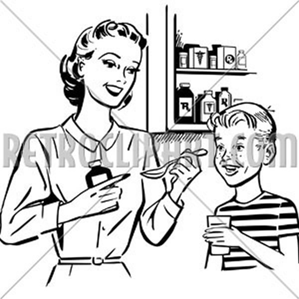 Mom Giving Medicine To Son